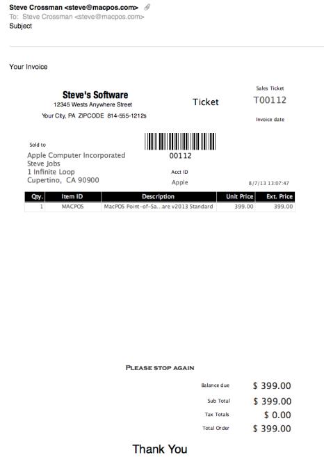 MacPOS Receipts – Standard Receipt Format